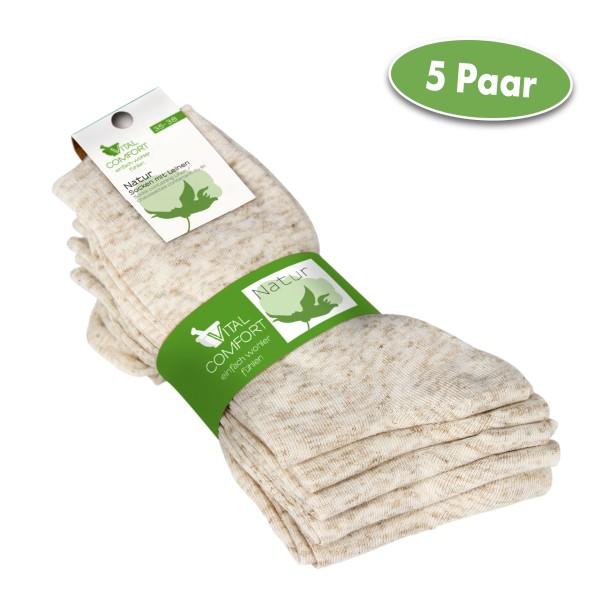 Vital Comfort Socken aus Baumwolle mit Leinen, 5 Paar
