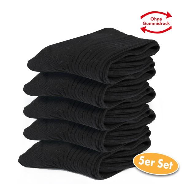 Baumwollsocken, schwarz, 5 Paar, Gr. 39 - 42