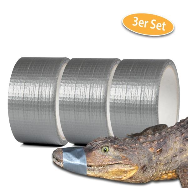 Alligatortape 10 m x 48 mm grau Gewebeband 3er Set