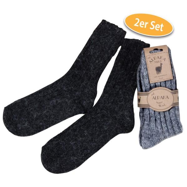 Alpaka Socken, 2 Paar (schwarz und grau)