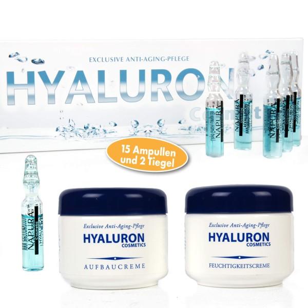 Bio-Vital Pflegeset Hyaluron Aufbau- und Feuchtigkeitscreme mit Hyaluron-Ampullen 3-tlg.