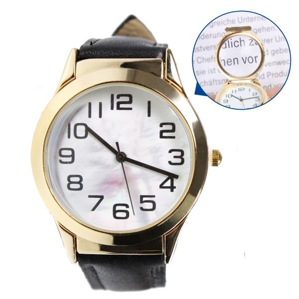 Armband-Uhr mit Leselupe zum Aufklappen