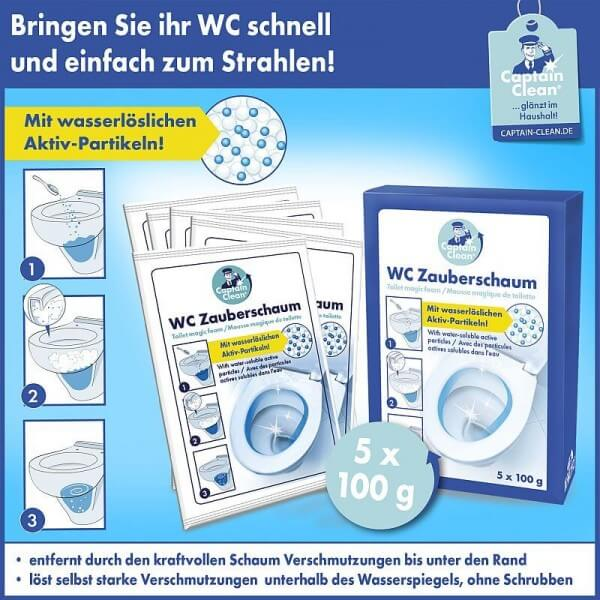 Captain Clean WC-Reiniger Zauberschaum in Portionsbeuteln 5 x 100 g
