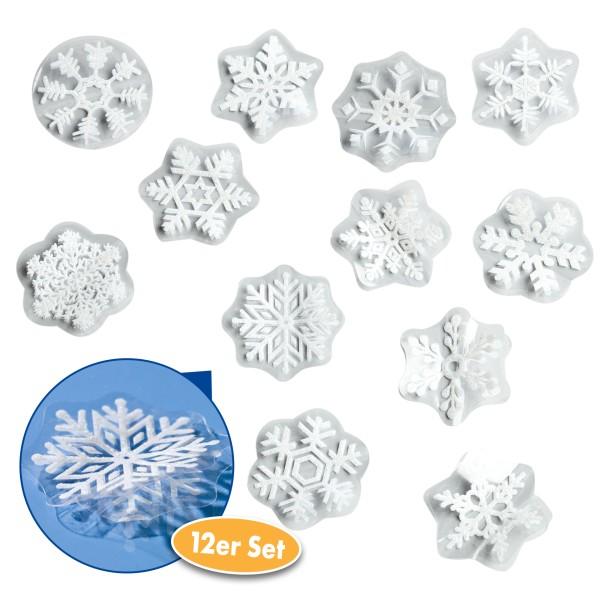 Heim Dekosticker Schneeflocken 3D 12er Set, weiß