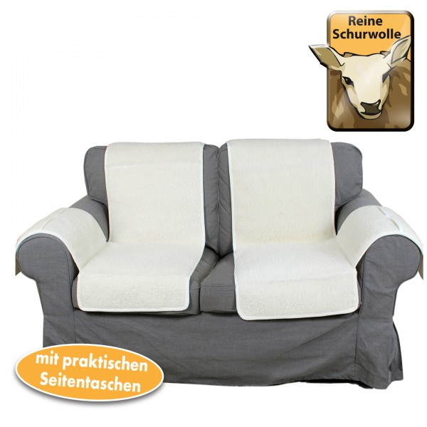 Sofaschoner Set 2-tlg. aus Schafwolle rechts und links, weiß