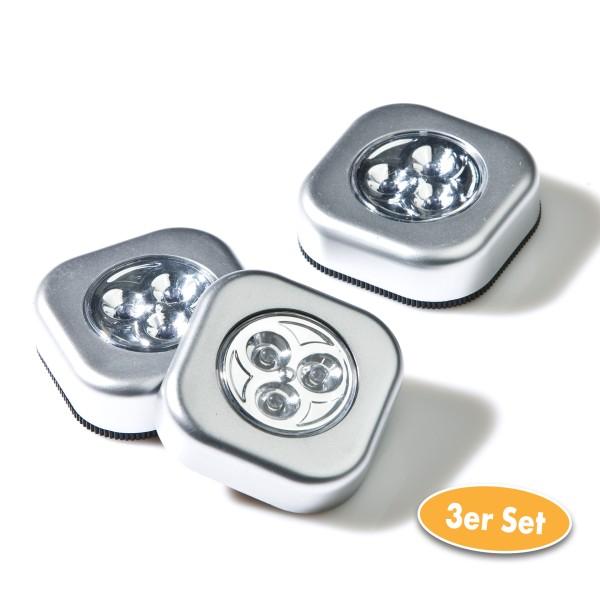 LED Touchlampe viereckig 3er Set im Karton, silber
