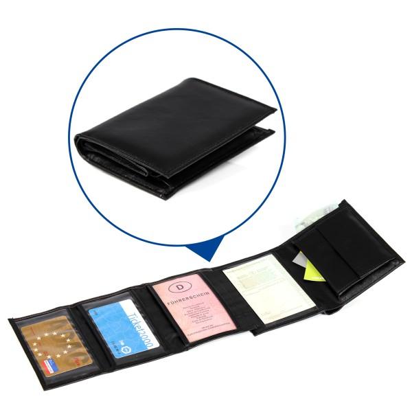 Aufklappbares Portmonnaie schwarz - 4-fach aufklappbar, Kleingeldfach