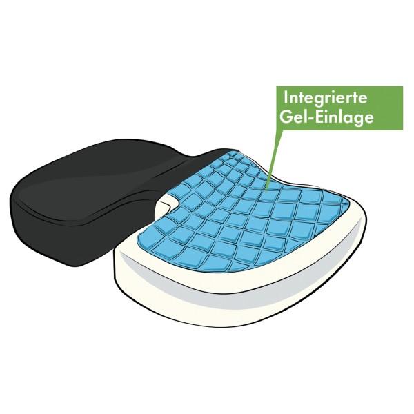 Vital Comfort Sitzkissen mit Memory Foam und entlastender Geleinlage