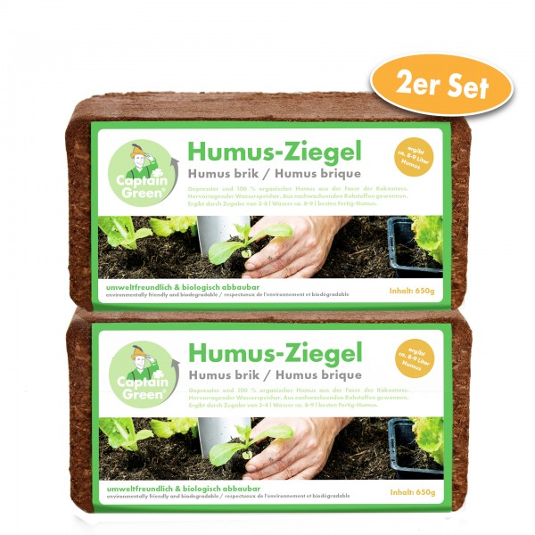 Captain Green Humus-Ziegel, 2er Set