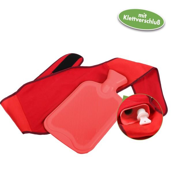 Vital Comfort Wärmflaschenhalter, Wärmflaschen Gürtel mit Klett, inkl. Wärmflasche, rot