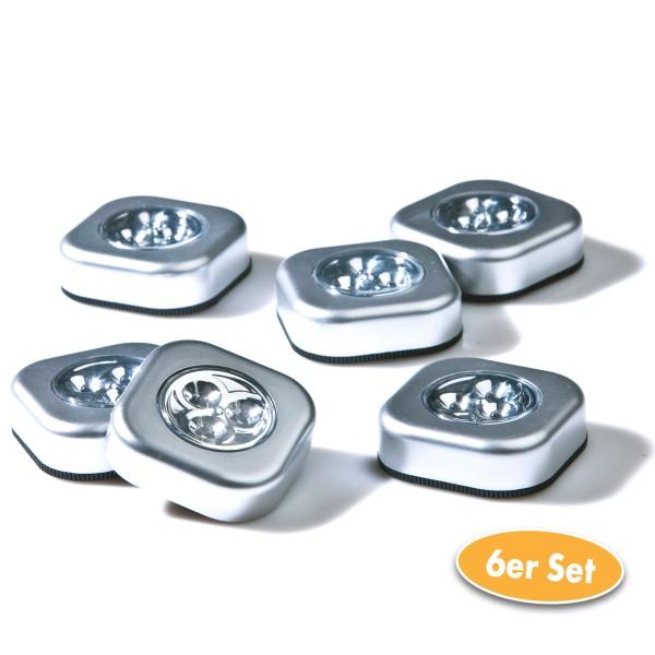 LED Touchlampe viereckig 6er Set im Karton, silber
