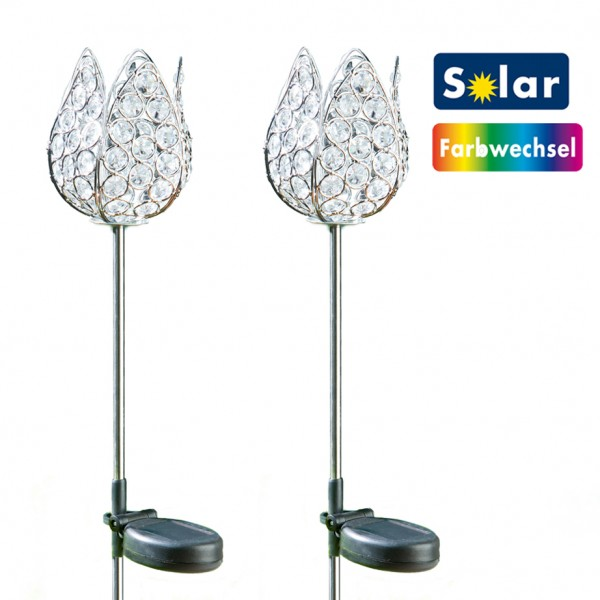 TopTV Solar-Farbwechsel-Kristallstecker Tulpe 2er Set