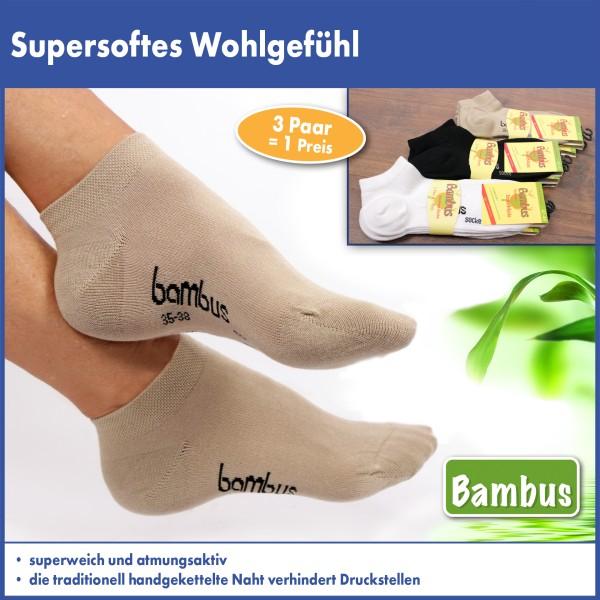 Viskose-Sneaker Socken aus Bambuszellstoffen, 3 Paar