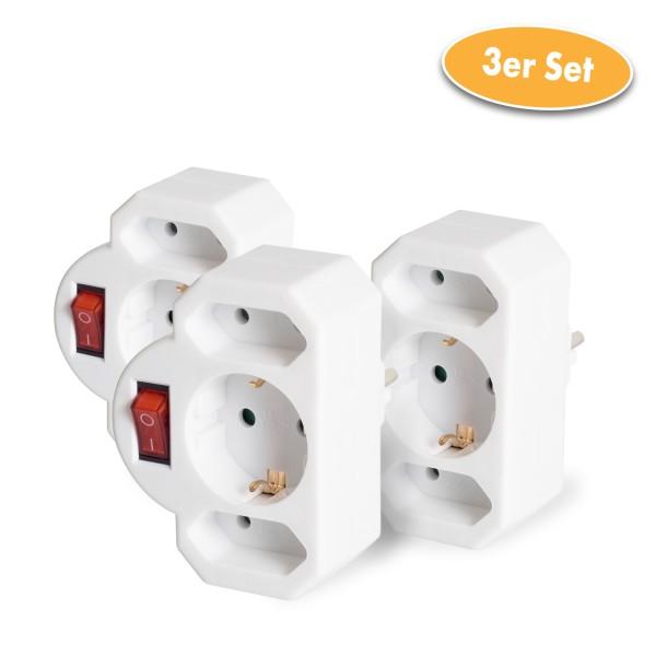 Zwischenstecker 3-fach mit Schalter, weiß, 3er Set