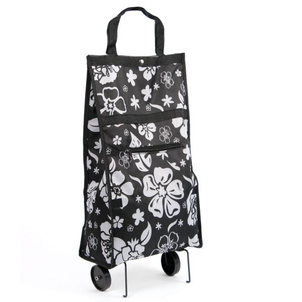 Einkaufstrolley klappbar schwarz mit Blumenmuster