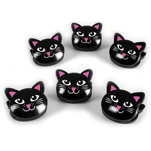 Beutel-Clips im Katzendesign 6er Set, schwarz
