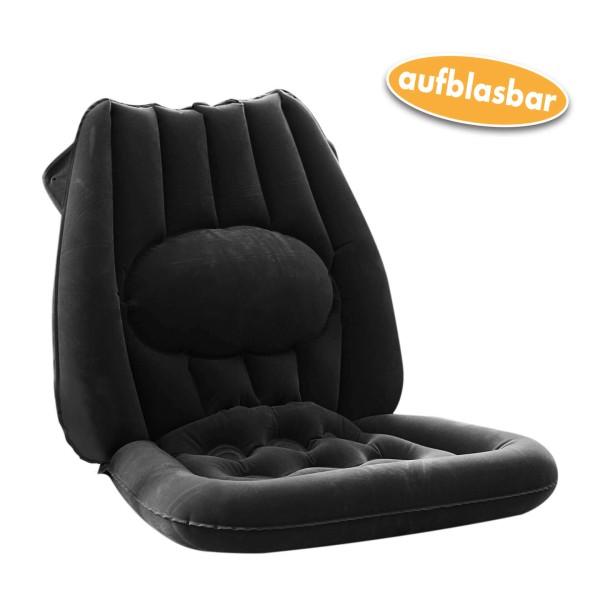 Sitzkissen, Rückenkissen mit Lendenwirbelstütze anthrazit, aufblasbar