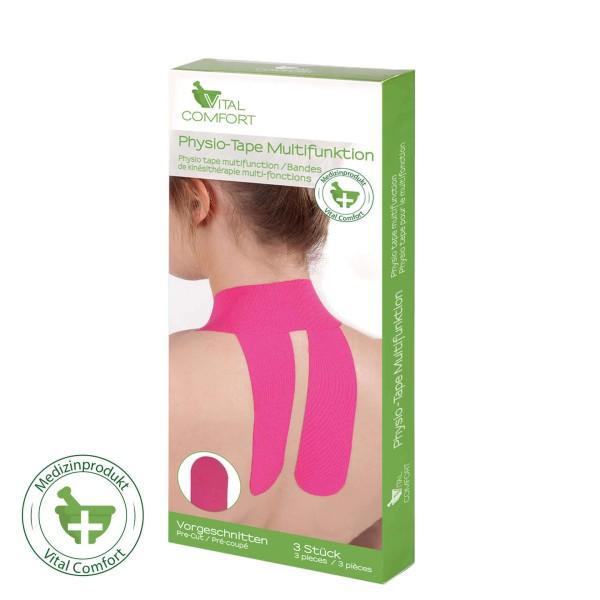 Vital Comfort Physio-Tape Multifunktion, pink, vorgeschnitten 3er