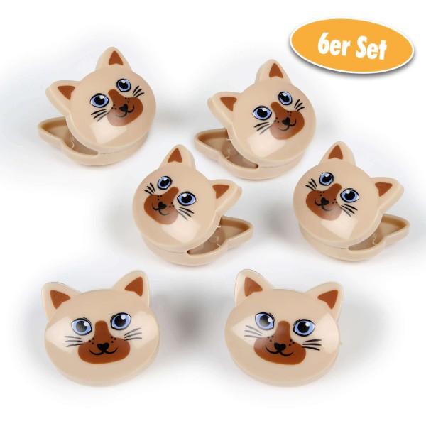 Beutel-Clips im Katzendesign Siamkatzen 6er