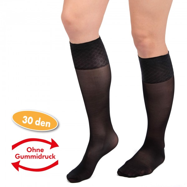 Fein-Kniestrümpfe mit Spezial-Komfortbund 30 DEN, 5 Paar, schwarz, Einheitsgröße