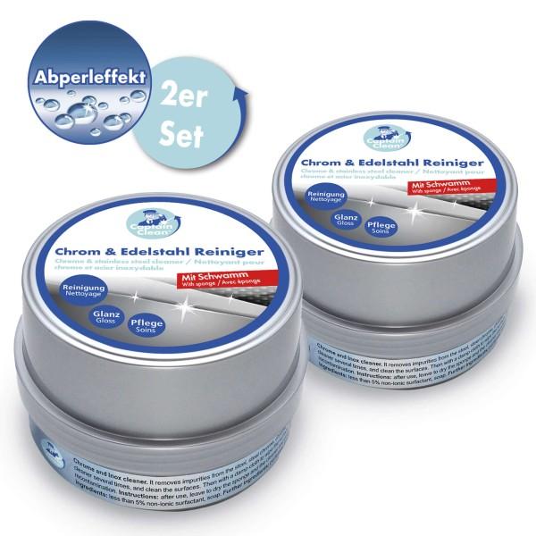 Captain Clean Chrom & Edelstahl Reiniger mit Abperleffekt 500 g 2er